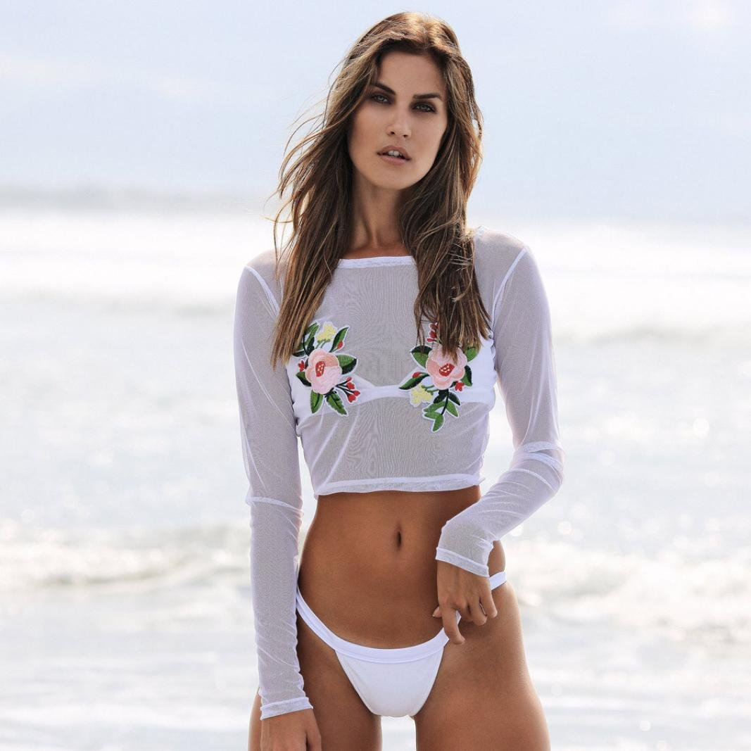 7248a73dc3 Quartly Women Sexy Beach Cover Up Floral Embroidery Mesh Bikini Swimsuit  Coverups Sunscreen Tops T-Shirt at Amazon Women's Clothing store: