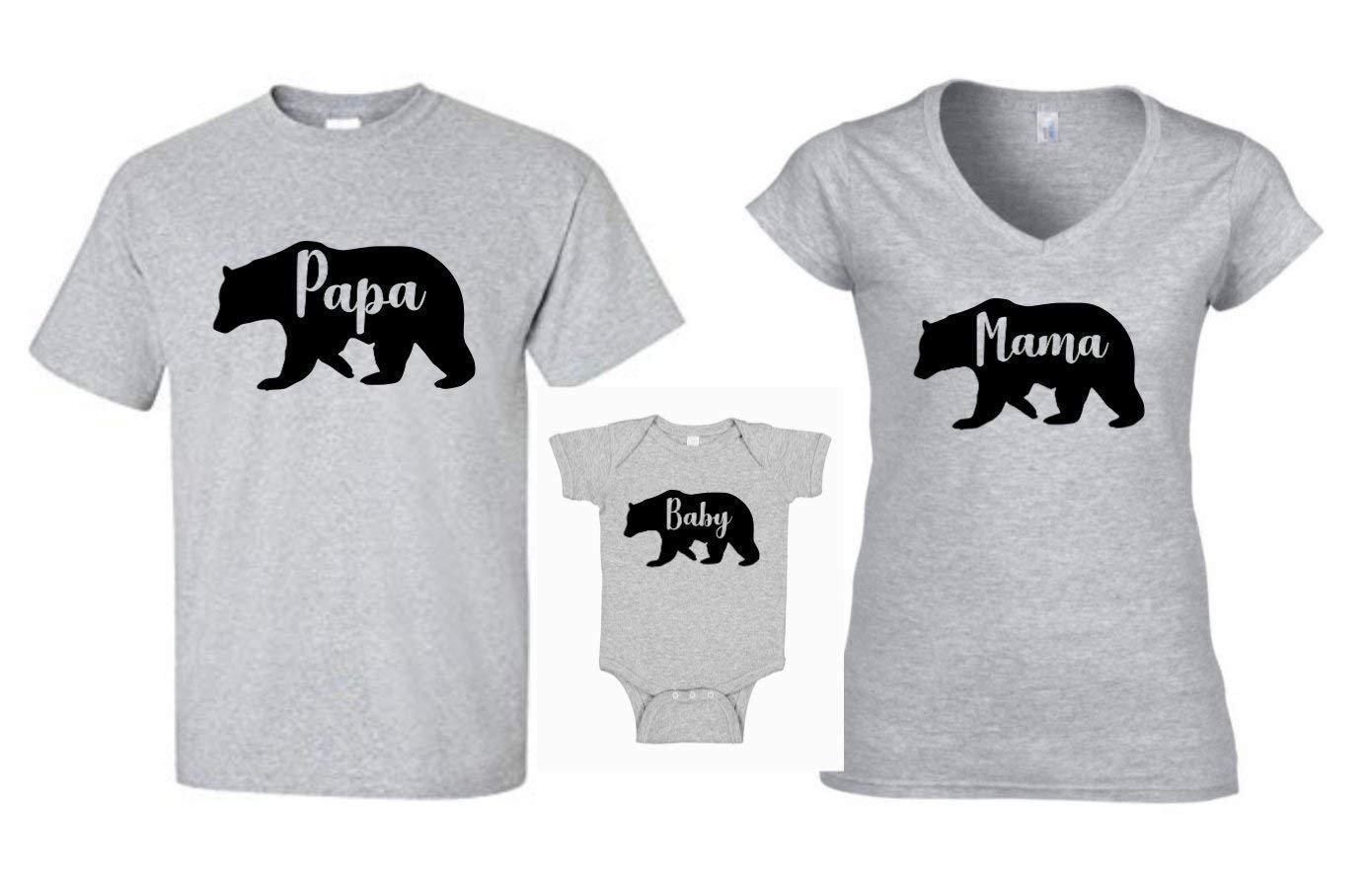 Family Bear Shirts Mama Bear Papa Bear Baby Bear Matching Grey Mothers Day