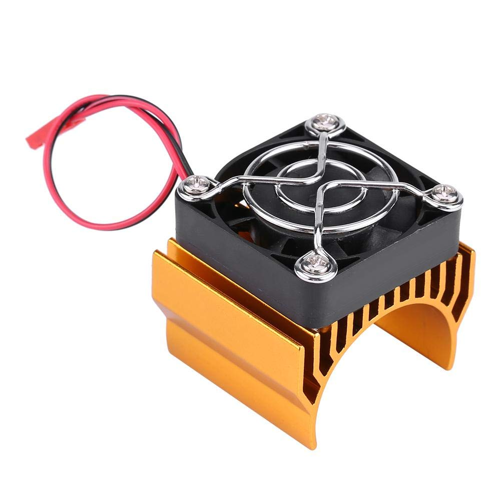 Dilwe RC Motor Heat Sink with Cooling Fan, RC Heat Sink Cooling Fan for 1/10 Scale Electric RC Car 540 / 550 / 3650 Motor Replacement Upgrade Part Accessory(Gold)