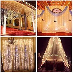 ZSTBT Linkable 304LED 9.84ft Window Curtain Lights Icicle Fairy Lights for Party Wedding Home Patio Lawn Garden (Warm White)