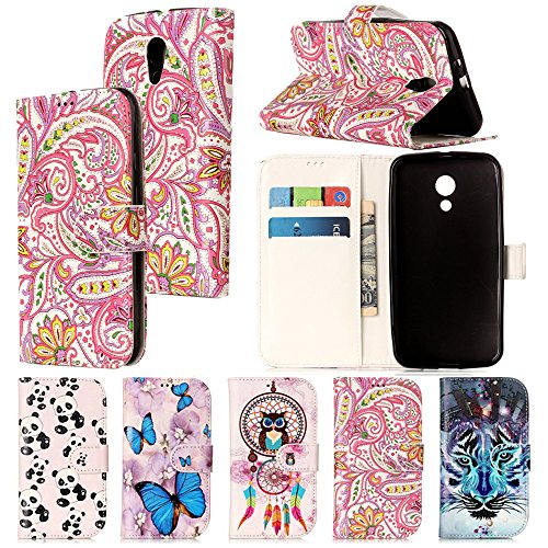 G2 Cover Case (Moto G2 Case,IVY [Kickstand & Relief] Moto G2 Wallet Phone Case [ID&Credit Card Pockets][Phoenix Flower] PU Leather Cover Flip Wallet Case For Motorola Moto G (2nd generation) Phone)