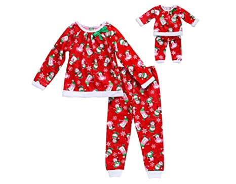Amazon.com  Dollie and Me Girls Matching Outfits 2-Pack Pant Pajama ... d627e4a95