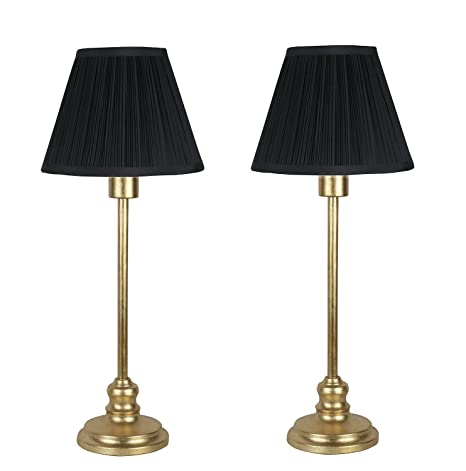 Urbanest Set Of 2 Modello Table Lamps Antique Gold With Black Shades 22 1 2 Inch Tall