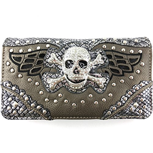 Justin West Skull Crossbones Angel Wings Bling Concealed Carry Handbag Purse Trifold Crossbody Wallet (Pewter Wallet)