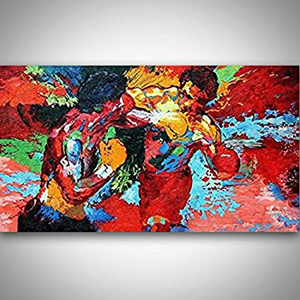 Orlco Art Hand Painted Leroy Neiman Rocky Vs Apollo Palette Knife Abstract Artists Paintings Painting On Canvas Movie Poster Boxing Sports Colorful