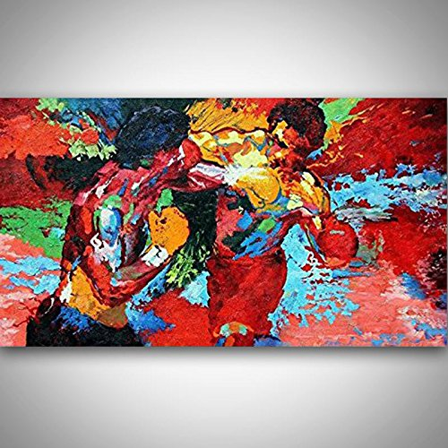 Orlco Art Hand Painted Leroy Neiman Rocky vs Apollo Palette Knife Abstract Artists Paintings Painting on Canvas Movie Poster Boxing Sports Colorful -