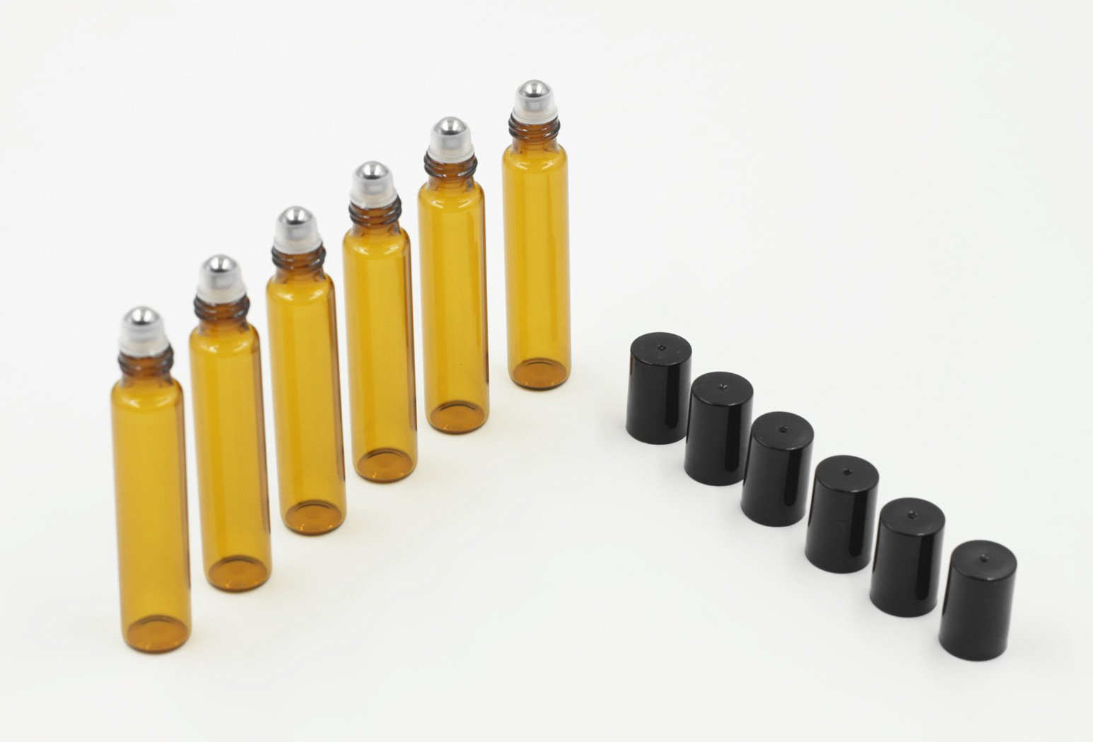 10ml Amber Glass Roller Bottles Sample Vial--Set of 6 With Metal Ball for Lab,Fragrance Essential Oil,Aromatherapy,Perfumes and Lip Balms