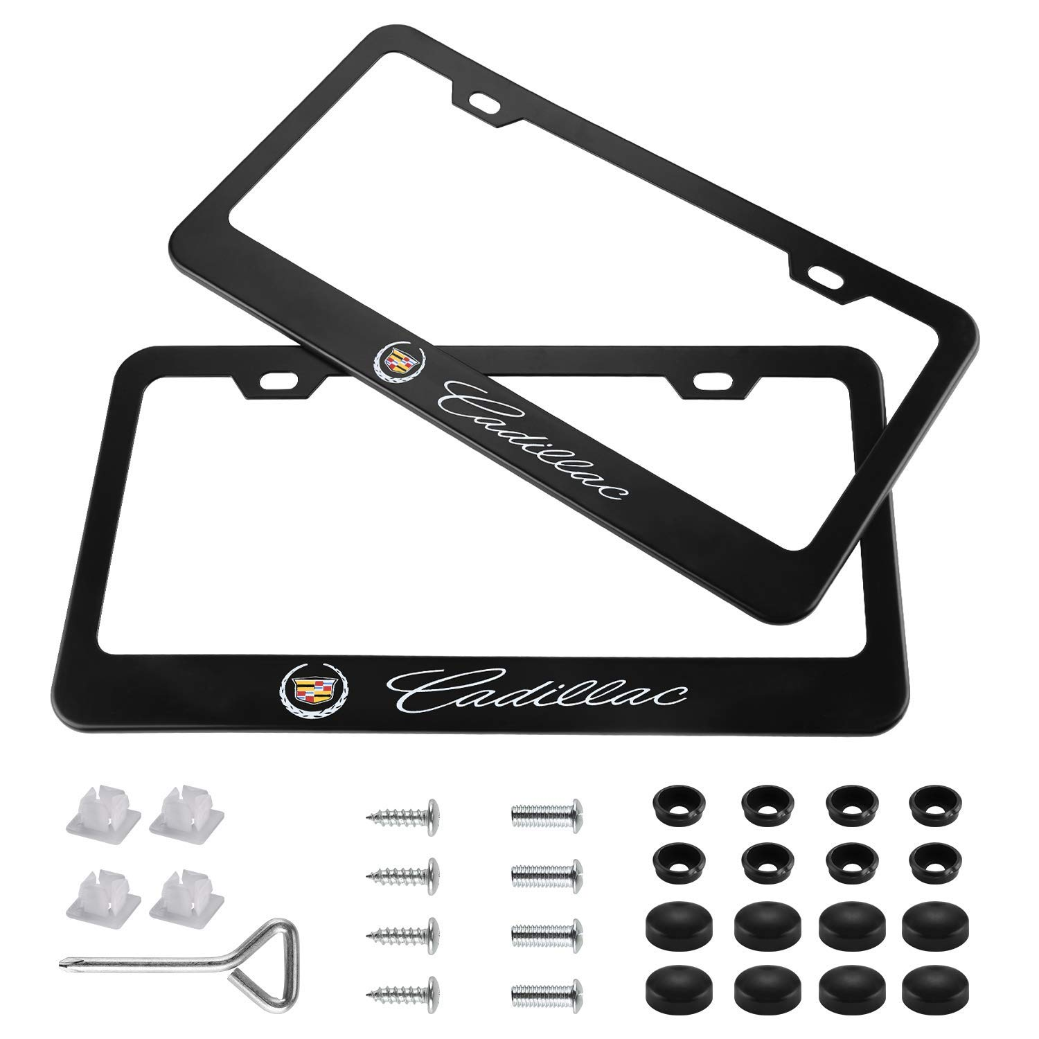 3D CADILLAC Front Black Stainless Steel License Plate Frame AUTHENTIC w// Caps
