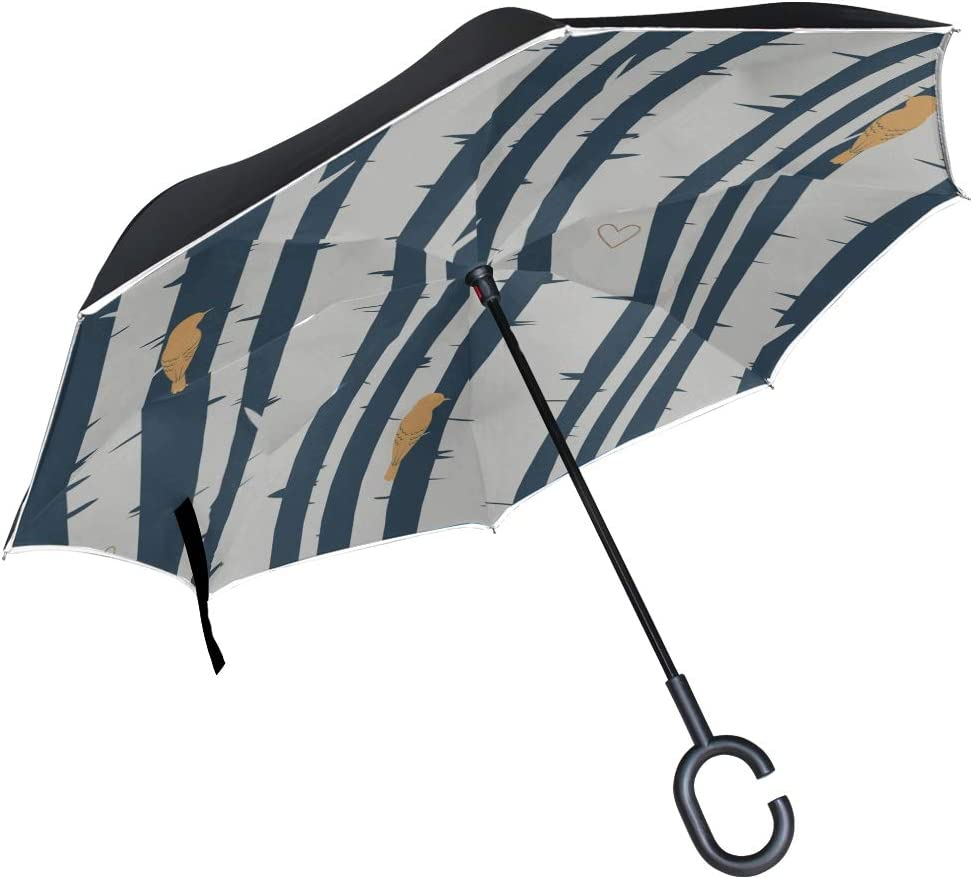 Double Layer Inverted Inverted Umbrella Is Light And Sturdy Birch Forest Reverse Umbrella And Windproof Umbrella Edge Night Reflection