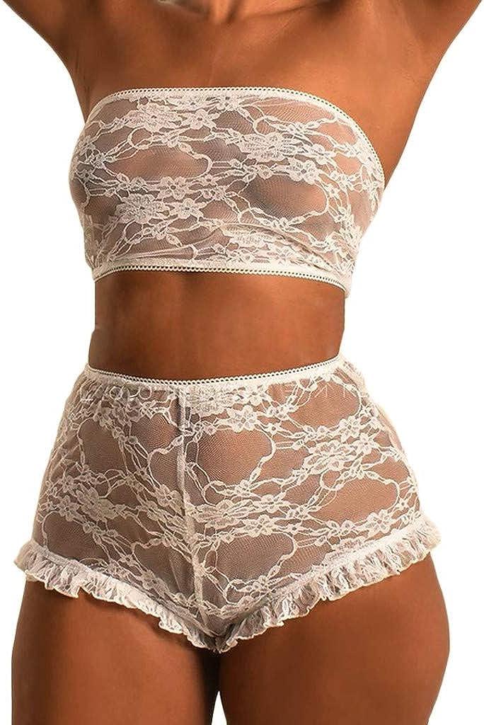Malbaba Women Lace Sexy Lingerie Beandeau Nightwear Babydoll G-String Underwear Set Sleepwear