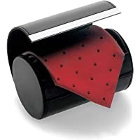 Tie Box, HoveBeaty Formal Cylinder Style Men's Classy Necktie Travel Storage Case (Black)