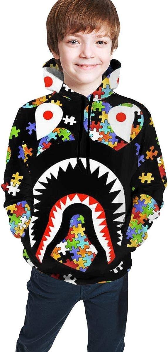 Boys Girls Casual Workout Active Hooded Nanrijiafutongxundian Bape Big Mouth Shark Teeth Kids 3D Printed Pullover Hoodie