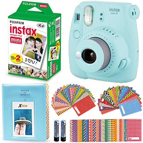 Fujifilm Instax Mini 9 Instant Camera + Fuji Instax Mini Instant Film (20 Pack), Blue Photo Album, 60 Assorted Colorful Mini Sticker Frames (ICE Blue)