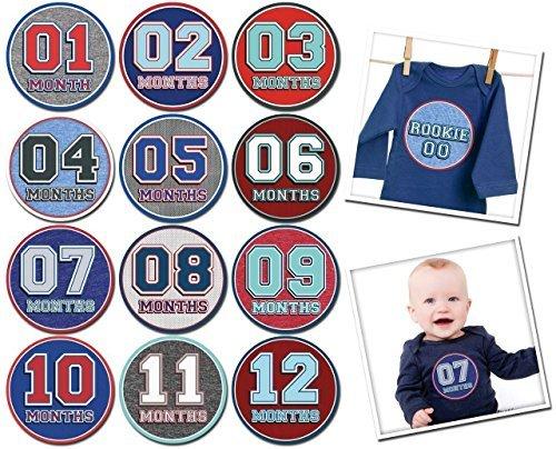 Sporty Shorty Baby Monthly Stickers Novlty Milestone Stickers Newborn Sticker Bodysuit Stickers Removable Vinyl Waterproof 1-2 Months Baby Shower Gifts (Shortys Sticker)