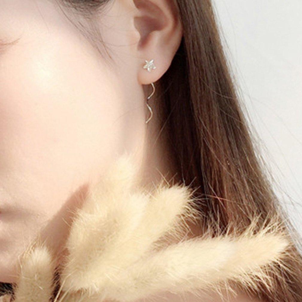 YAZILIND Wavy Long Link Plumeria Rubra Ear Line Drop Pierced Earrings Party Gift