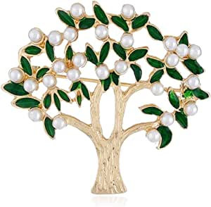 Lucky Pearl Tree Brooches for Women Men Girls Gold Tone Fashion Vintage Green Olive Leaf Brooch Pins Bow Tie Necktie Dress Accessories Jewelry Tree of Life Design Lapel Stick Pin for Hat Bag Suit
