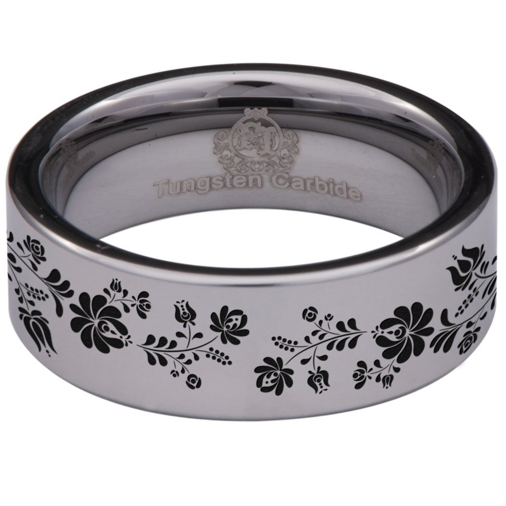 Silver Tungsten Carbide Flower Ring 8mm Wedding Band Anniversary Ring for Men and Women Size 7.5