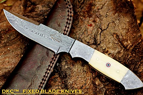 DKC-519 UNICORN Damascus Hunting Handmade Knife Fixed Blade 9.3 oz 9 Long