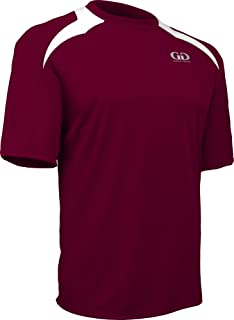 product image for Game Gear PT-818SY-CB Youth Performance Loose Fit Athletic Shirt with White Lightning Shoulder Panel-Leisure and Sport Competition (Youth Small, Maroon/White)