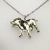 Hermoso collar de Perro Pitbull en oro laminado o Rodio 2 cms altura con cadenita