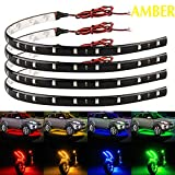 car interior led light strip - EverBright 4PCS Super Bright Amber 30CM 5050 12-SMD DC12V Flexible Waterproof LED Strip light For Car Interior & Exterior Decoration Boat,Bus,Garden,Events Christmas & New Year Brithday Parties LED Strip Light