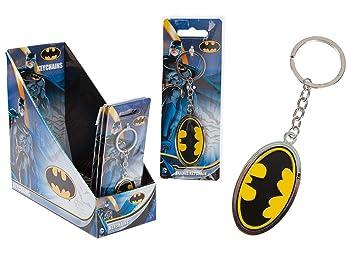 Joy Toy 301026 Batman Logo Metal Clave Cadenas sobre Tarjeta de Plato de Soporte en una Pantalla, 1 Unidad