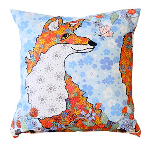"""TODD THE FOX THROW PILLOW COVER by MollyMac UK, Hello Foxy Cushion Cover - Filler Pad not included - Made in UK - 17"""" x 17"""
