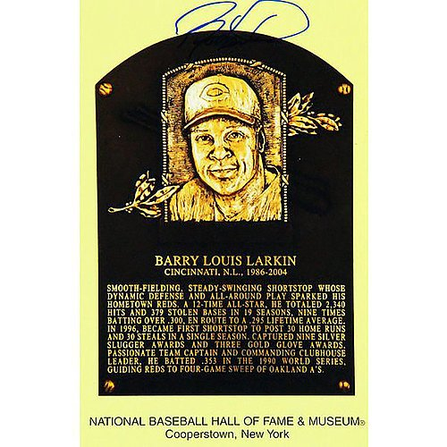 Mlb Card Plaques (Barry Larkin Autographed Hall of Fame Plaque Baseball Card - Autographed in Center - Certified Authentic Autograph)
