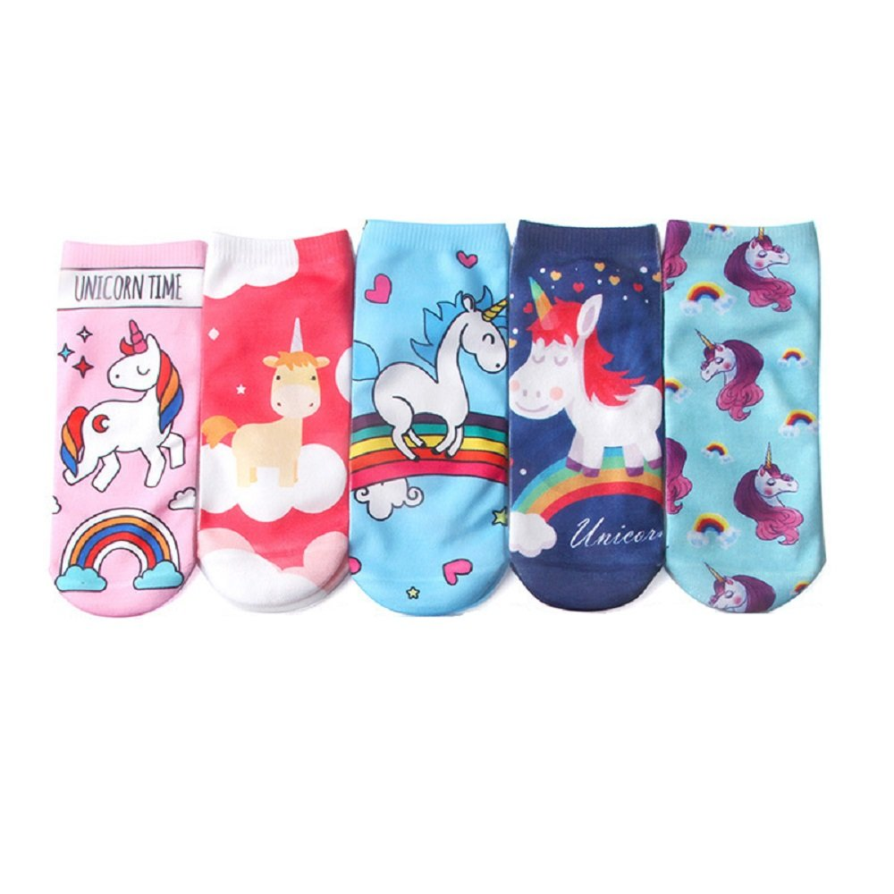 ZXJOY Unicorn Socks Womens/Girls/Kids Crew Socks Cartoon Ankle Socks 5 Pairs by