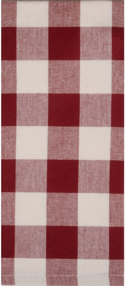 Home Collections by Raghu 18x28 Buffalo Check Barn Red-Buttermilk Towel, 6 Piece