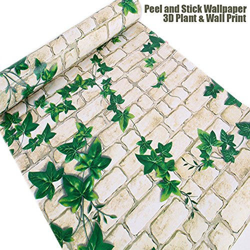Brick Peel& Stick WallPaper, Vintage Style White Faux Brick Contact Paper Self-adhesive Peel-stick Prepasted Wall Paper 17.7'X 393' Roll(10M)
