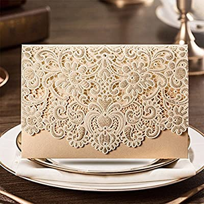 PONATIA 25pcs/Lot Luxury Laser Cut Invitations Cards Kits Flora Invitation Cardstock Packs with Envelope and Adhesive Seals for Engagement Wedding Party