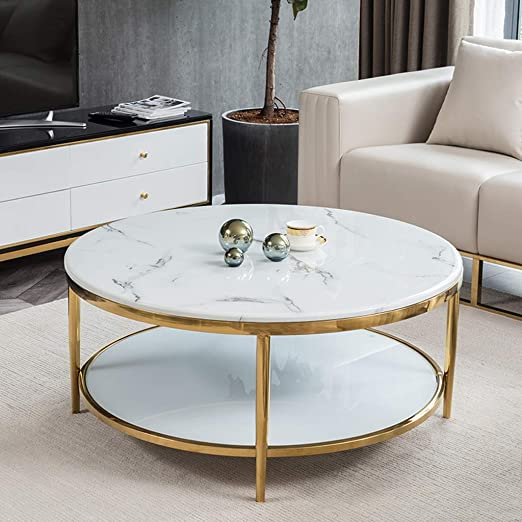 Tempered Glass And Marble Coffee Table With Lower Storage Shelf