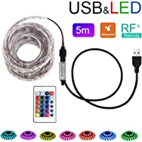 Lovicool LED Strip Lights 5M Color Changing Kit Wireless USB Remote Controlled Rope Light Waterproof Flexible Tape Lights RGB Lamp Bar TV Back Lighting Kit 5V 5050 SMD