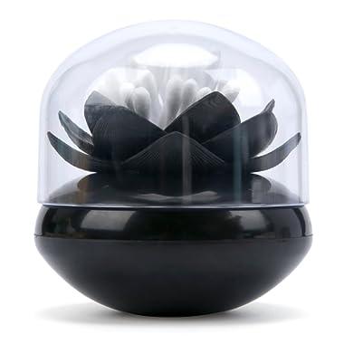 Bloss Qualy Lotus Cotton Swab Holder Cotton swabs Bud Holder QTips Container Flower Green Bathroom Decor - Black