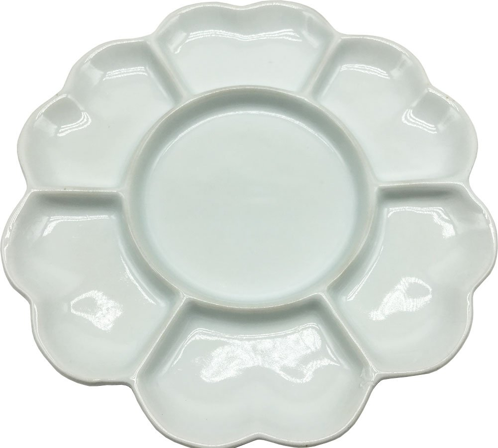 Easyou 7 Well Porcelain Palette 8 Inch(20.5cm) Mixing Tray