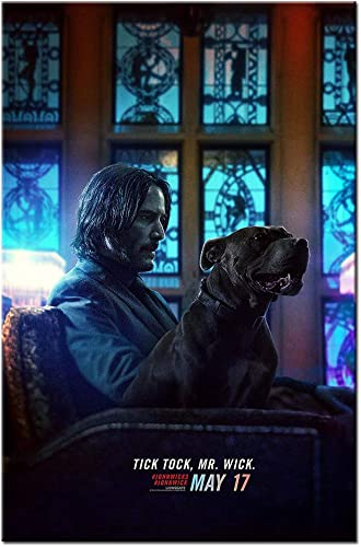 Wall Art John Wick and Dog Movie Poster Picture Print on Canvas Home Family Decoration Framed and Unframed Mural
