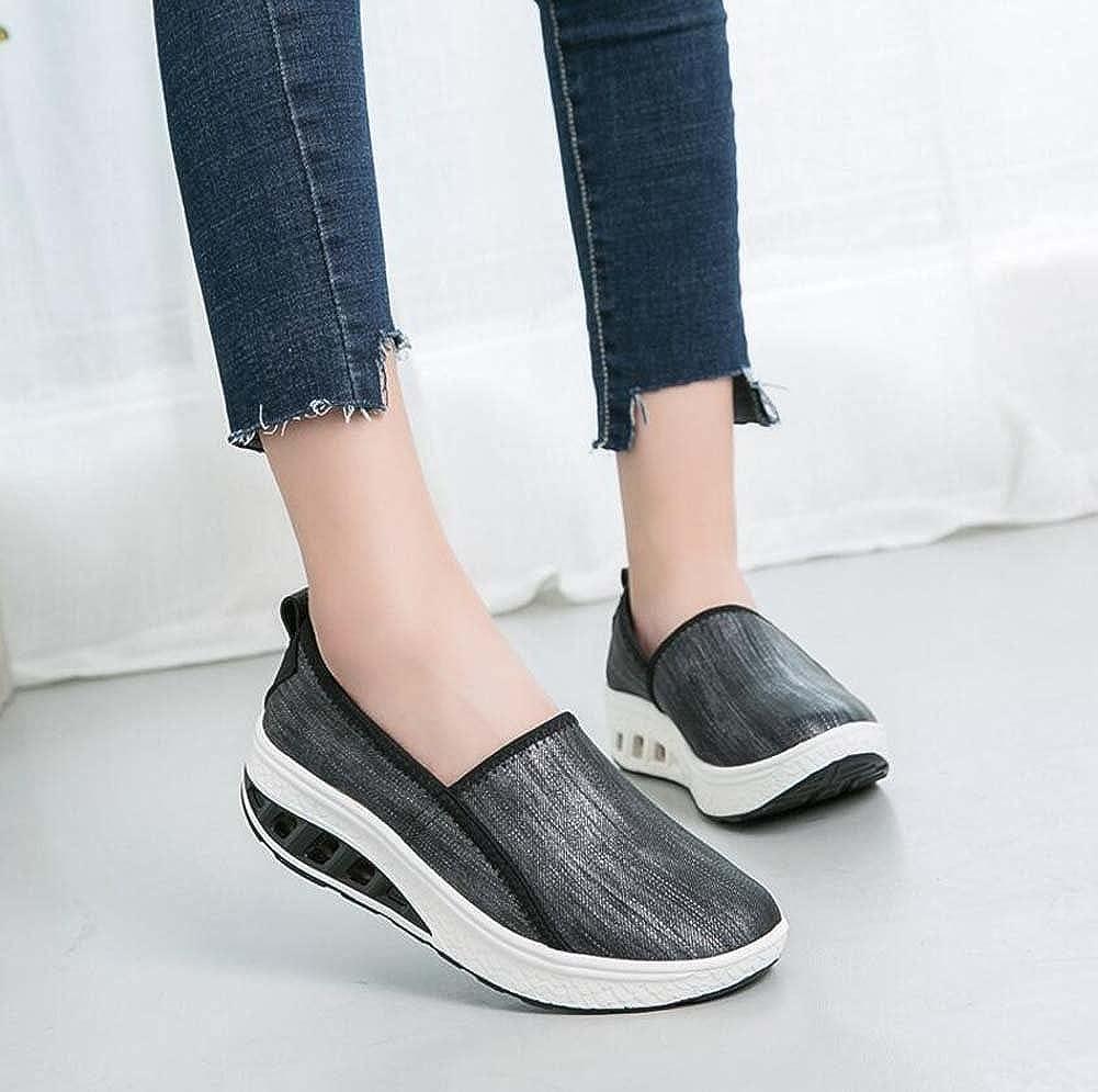 Zapatos Zapatos Zapatos atléticos Casuales de Mujer Muffins y Zapatos de batir de Suela Gruesa Zapatos de Madre de Moda Negro/Blanco Talla 35-40 e06b28