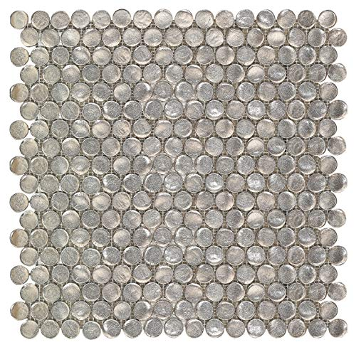 La Perla Deep Oyster Penny Round Glass Mosaic