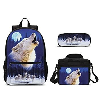 8d20c69dda43 Amazon.com | Cool Moon Wolf Backpacks Set 3 Pieces Big Lunch Bag Pen ...