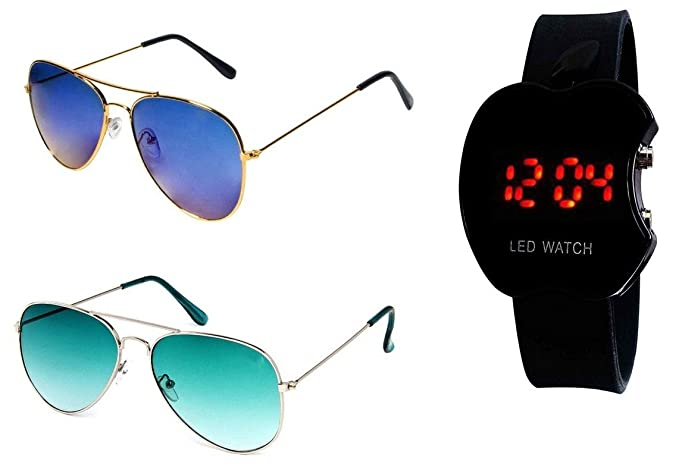 eca56796ff1f Image Unavailable. Image not available for. Colour: Younky UV Protected Aviator  Blue Sunglasses for Men Women Boys and Girls with Digital LED Watch