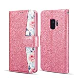 EYZUTAK Rose Floral Pattern Case for Samsung Galaxy S7 Edge,Bling Glitter Leather Wallet Case with Credit Card Slot Magnetic Closure Flip Kickstand Cover for Samsung Galaxy S7 Edge,Pink