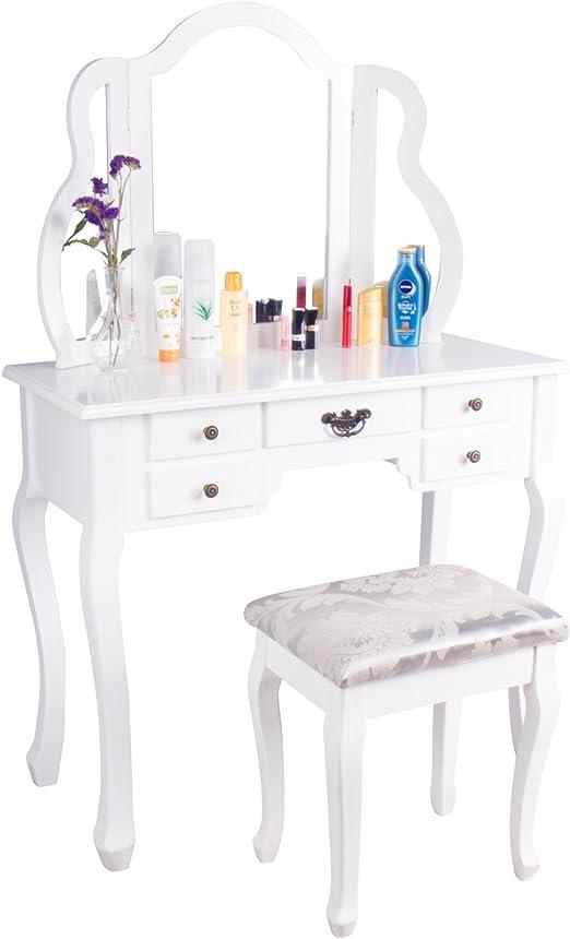 CCLIFE 137x90x40cmTocador maquillaje con cajones y taburete ...