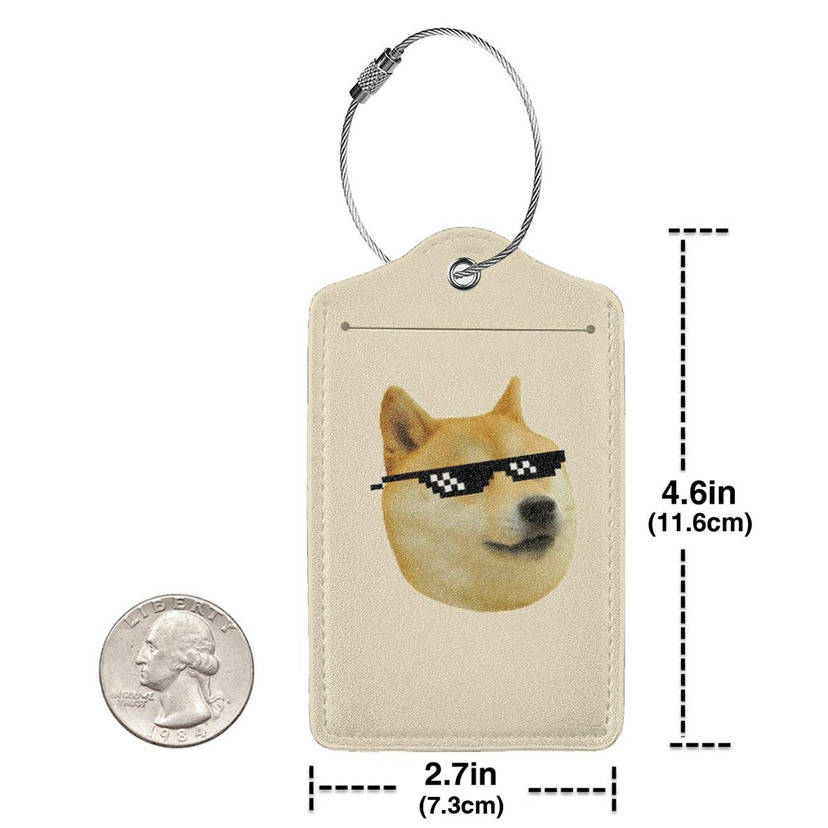 Shiba Inu Faces Leather Luggage Tag Travel ID Label For Baggage Suitcase