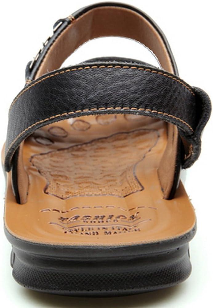 Vocni Mens Open Toe Casual Leather Comfort Shoes Sandals