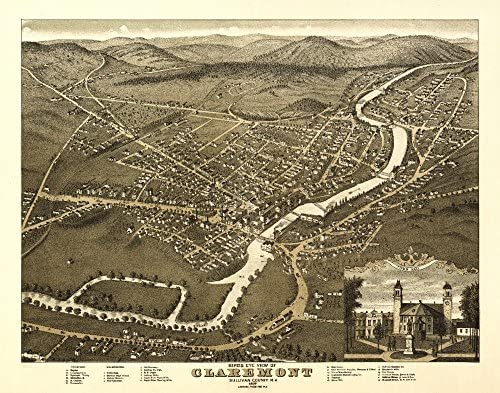 Claremont、New Hampshire?–?パノラマMap 36 x 54 Giclee Print LANT-9528-36x54