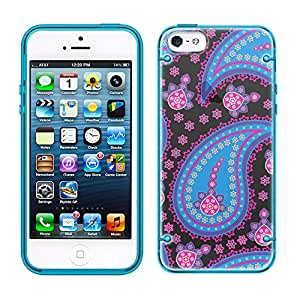 iPhone 5 Paisley Blue Pink on Black See Through Case with Glow Blue Trim