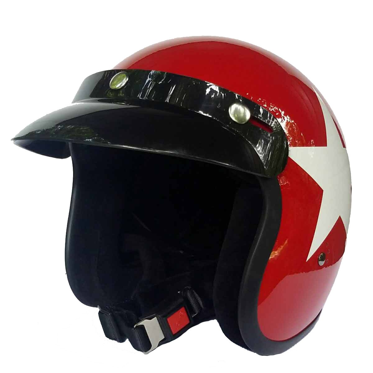 Sports-Farbe:Red Gr/ö/ße:M Bandit Helm Star Red Jet Futter-schwarz leicht bequem Roller 57-58cm