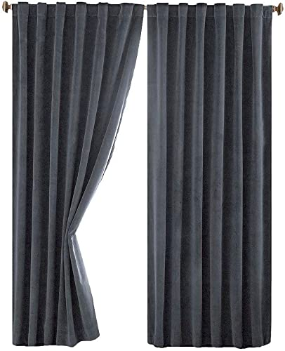 Absolute Zero Total Blackout Stone Blue Faux Velvet Curtain Panel