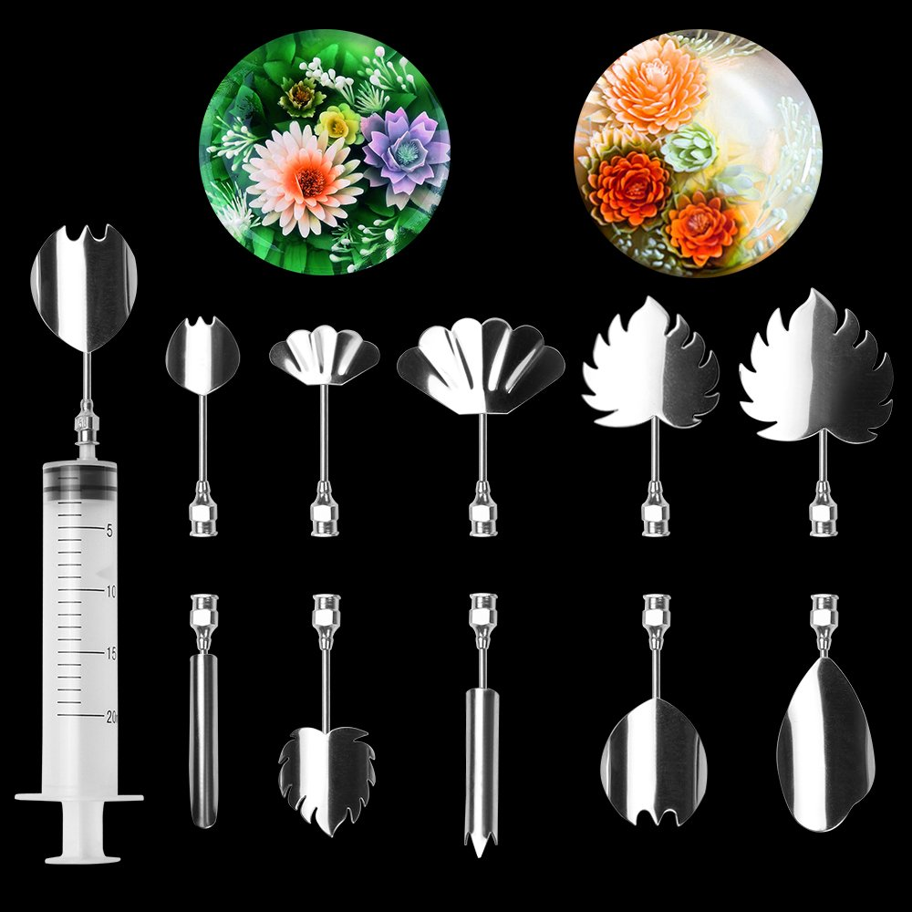 LOHOME 3D Gelatin Art Tools - Set of 10-pieces Jelly Cake Stainless Steel Needles Coming with One 10ml Syringe - Pudding Pastry Nozzles (Flower Shape 7)